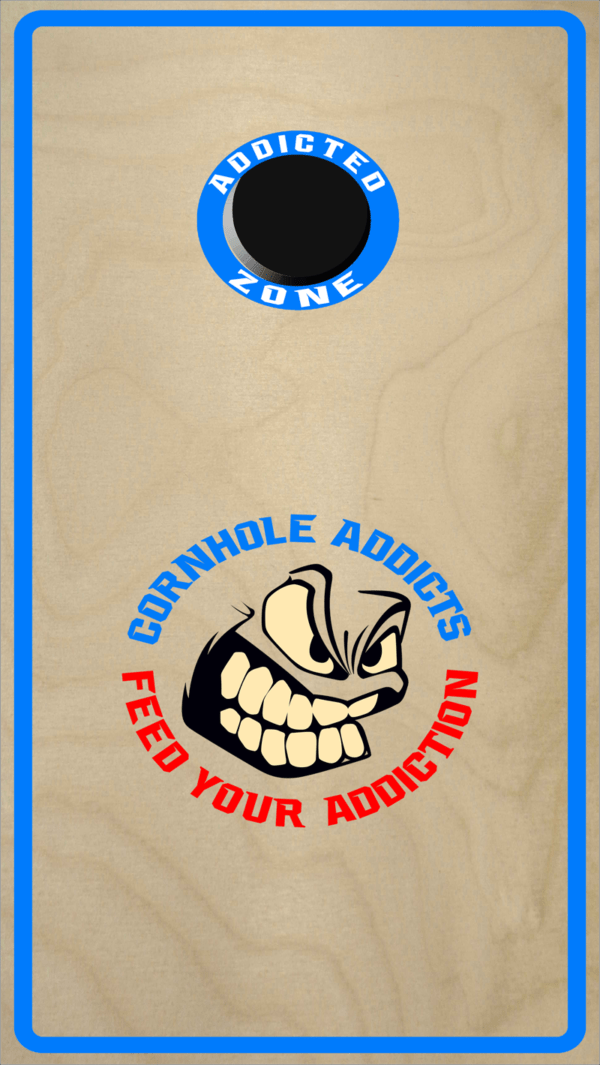 Blue Cornhole Addicts Boards with the Addicted Zone