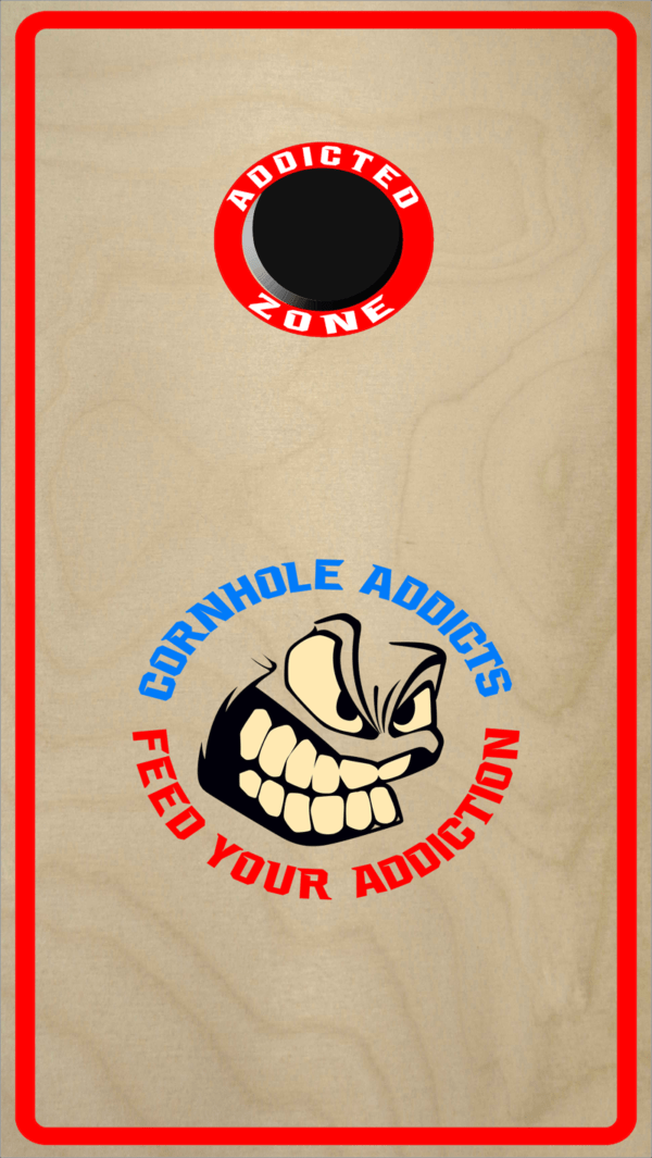 Red Cornhole Addicts Boards with the Addicted Zone