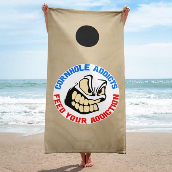 Cornhole Addicts beach towel