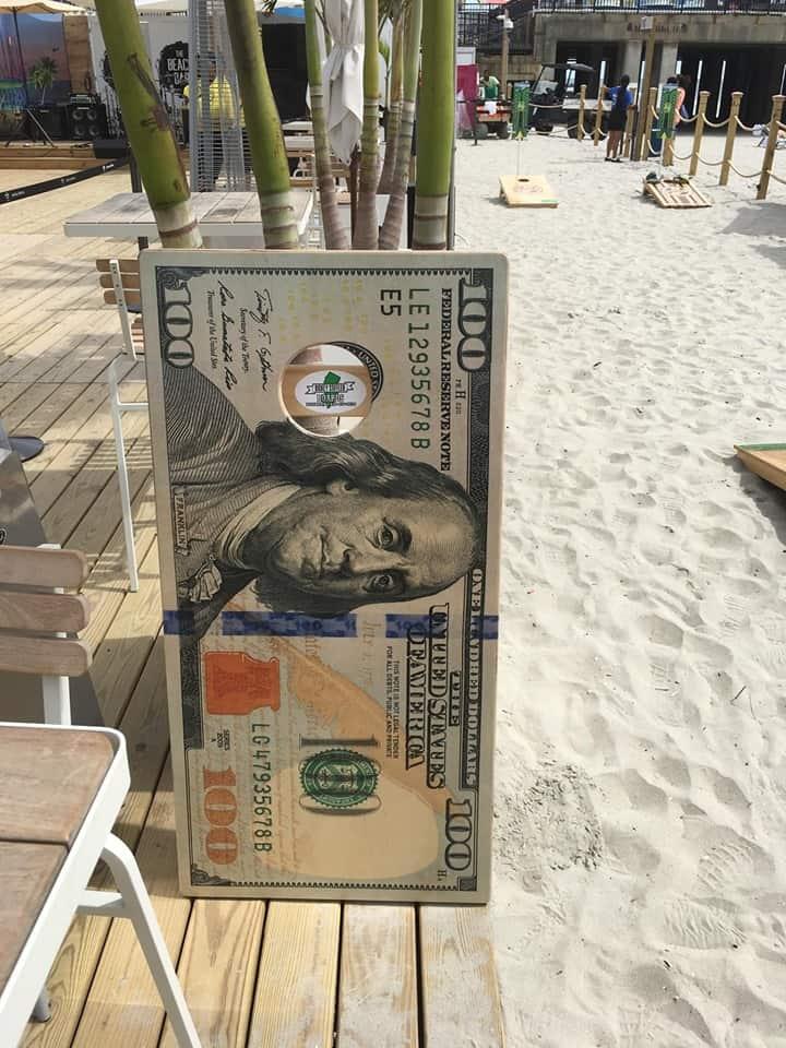 $100 dollar bill cornhole boards