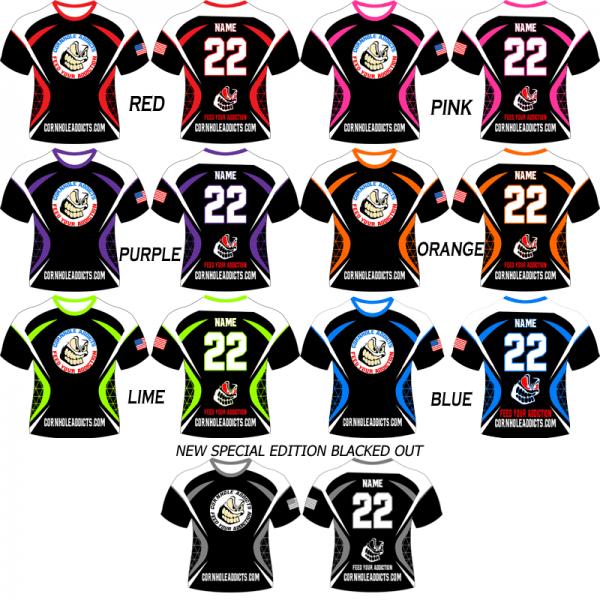 Cornhole Addicts custom jerseys come in 7 colors