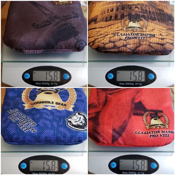 Weight of Gladiator Pro VIII Series cornhole bags