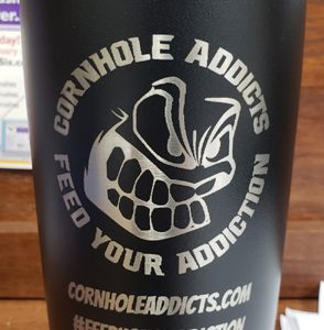 Black 20oz Cornhole Addicts engraved tumbler