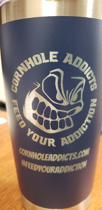 Blue 20oz Cornhole Addicts engraved tumbler