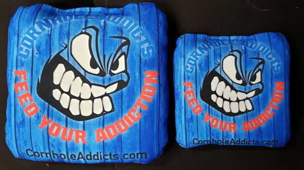 Regular sized Run N Gun Series cornhole bags along side mini bags
