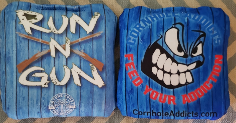 Run N Gun cornhole bags by Nature Coast Tailgating