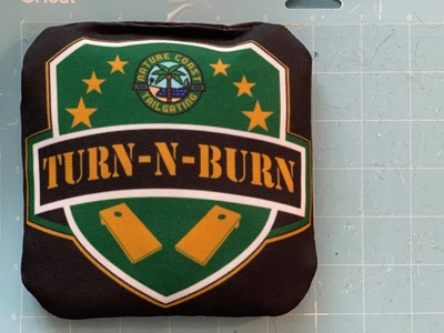 Turn-N-Burn cornhole bag size