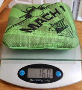 weight of Mach 1 Cornhole Bag