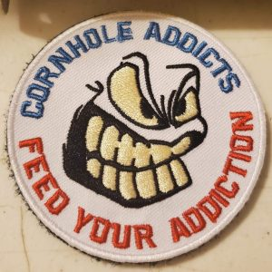 Velcro Patch Cornhole Addicts 3 inch embroidered patch