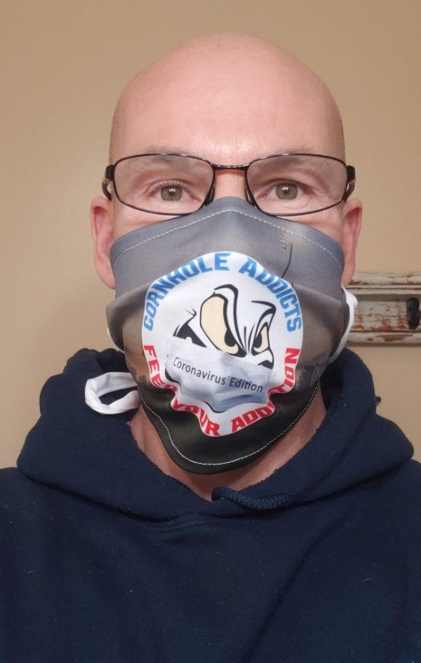 Cornhole Addicts pleated face mask