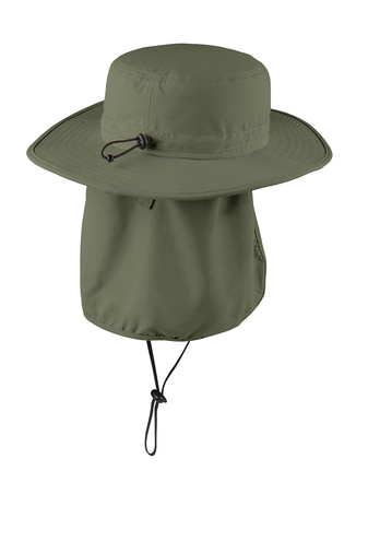Olive wide-brim bucket hat back with sun flap