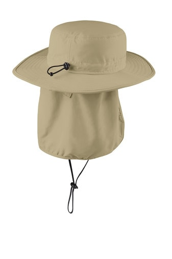 Stone wide-brim bucket hat back with sun flap