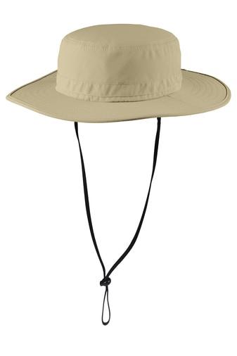 Stone wide-brim bucket hat front