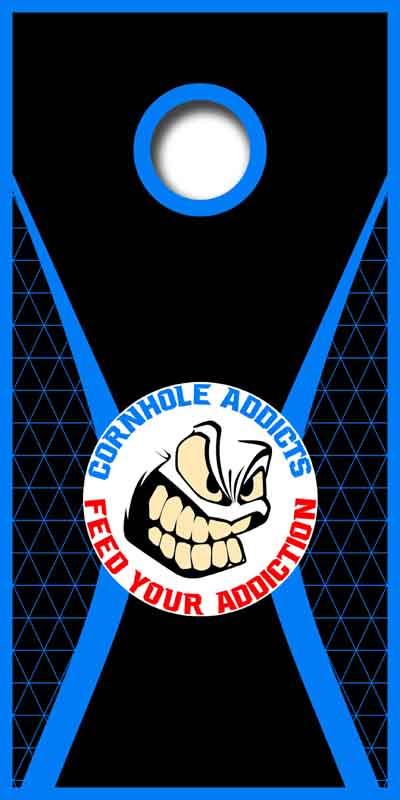 Blue Mesh Cornhole Addicts boards
