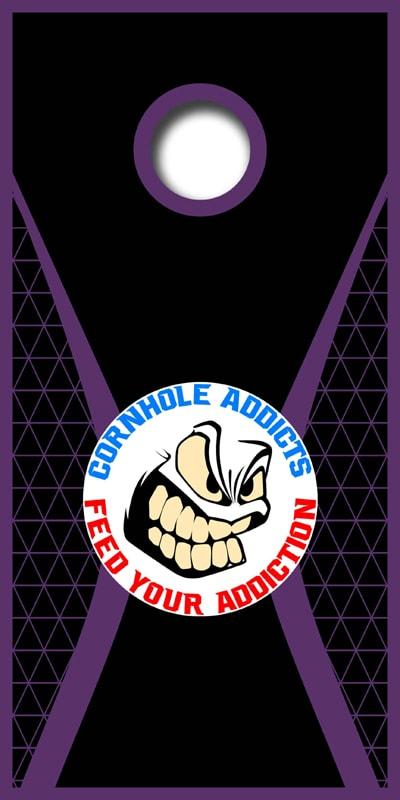 Purple Mesh Cornhole Addicts boards