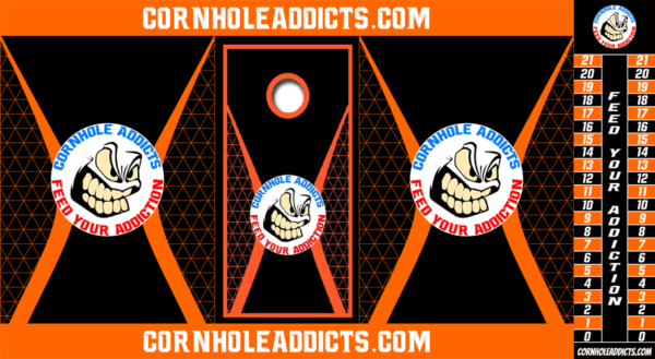 Orange Totally Addicted Cornhole Addicts package deal