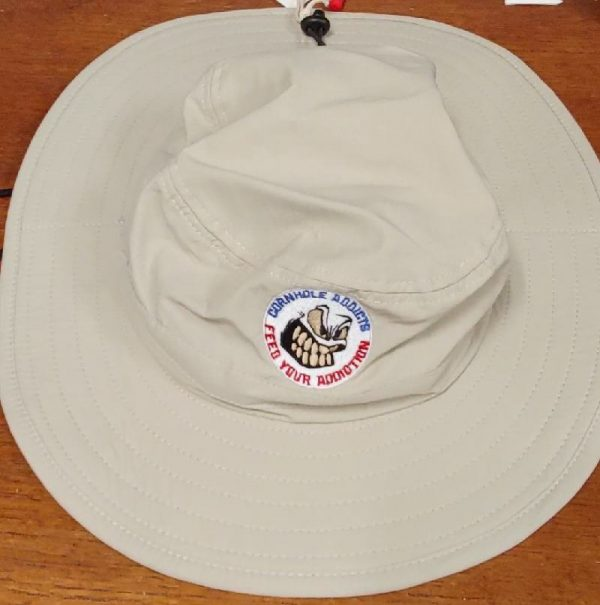 Stone wide brim hat with embroidered logo