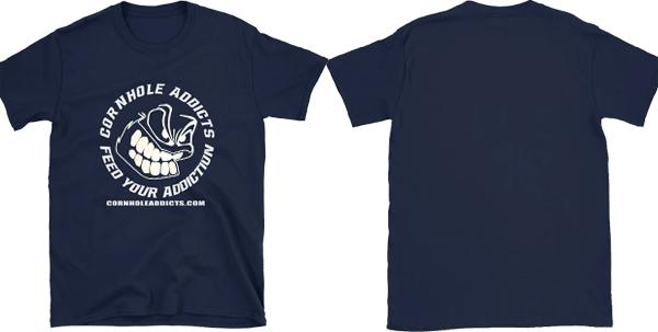 Cornhole Addicts white logo tshirt