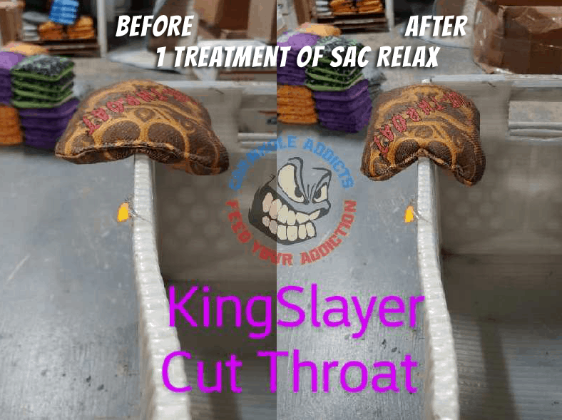 Relaxed Cut Throat bags before and after