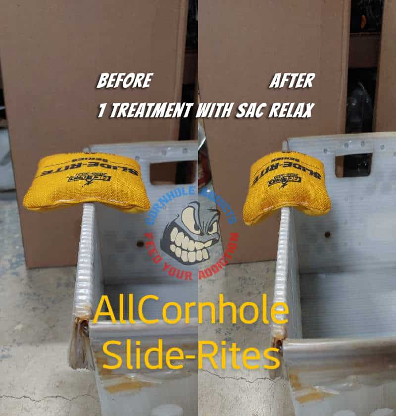 Relaxed Slide-Rite bags before and after