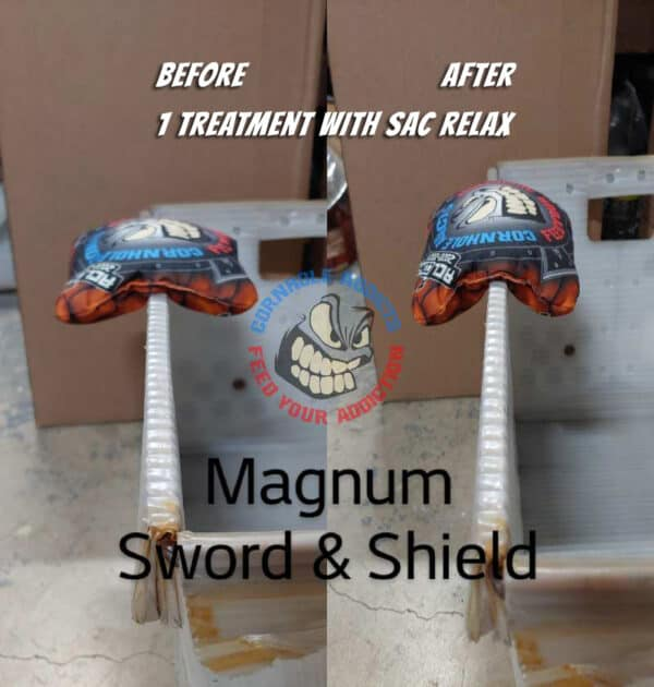 Relaxed Sword & Shield before and after
