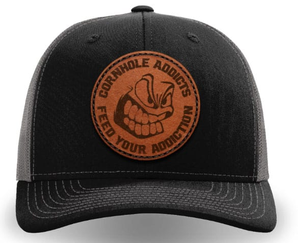 Black on charcoal leather patch hat