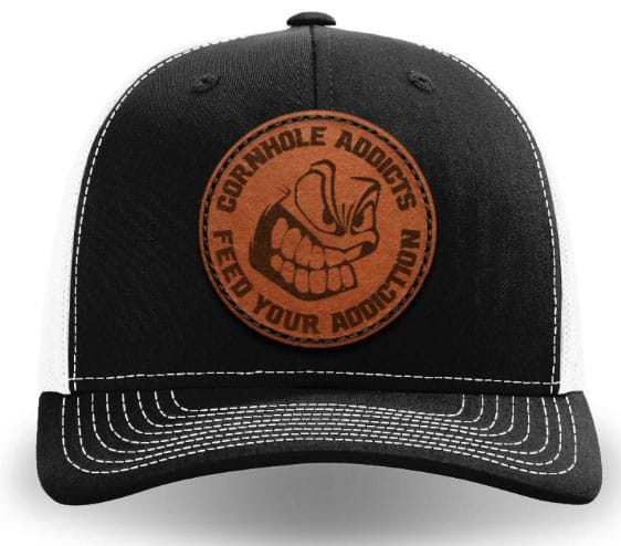 Black on white leather patch hat