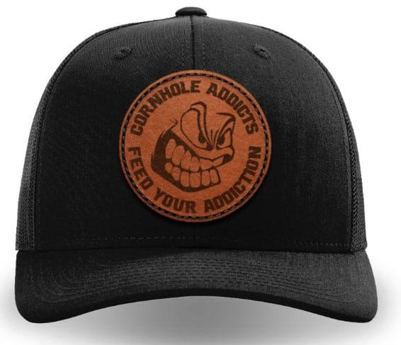 Black on black leather patch hat