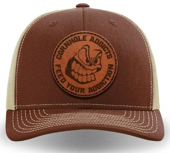 Brown on khaki leather patch hat