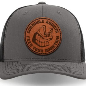 Charcoal on black leather patch hat