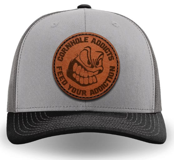 Grey & charcoal on black leather patch hat