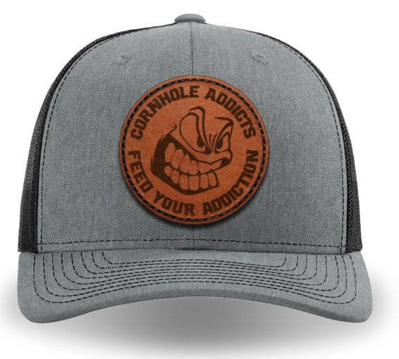 Heather grey on black leather patch hat