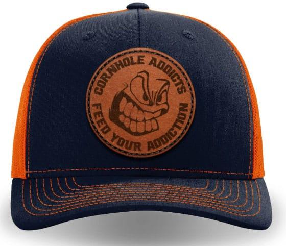 Navy on orange leather patch hat