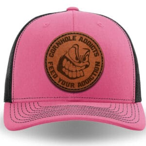 Pink on black leather patch hat
