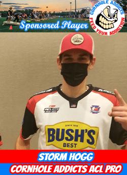 Cornhole Addicts sponsored player Storm Hogg