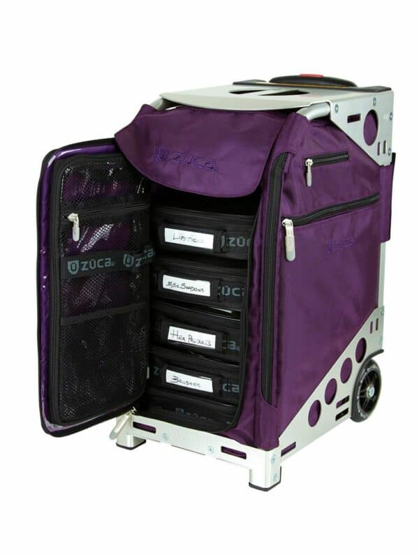 Purple insert and silver frame cart