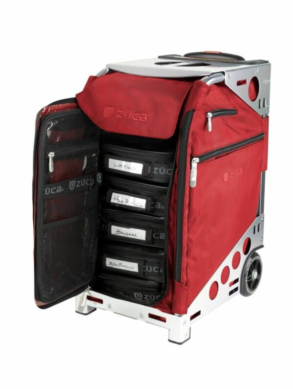 red insert and silver frame cart