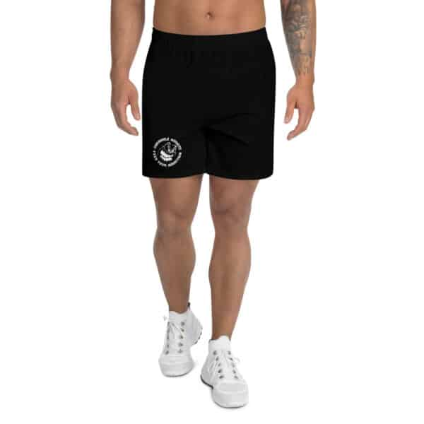 all over print mens athletic long shorts white front 60f9e72e3069d