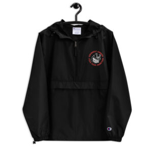 embroidered champion packable jacket black front 614b5c189a159