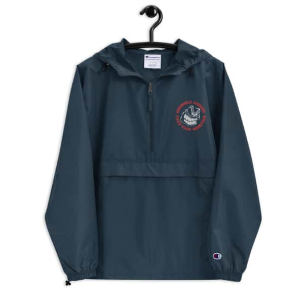 embroidered champion packable jacket navy front 614b5c189a302