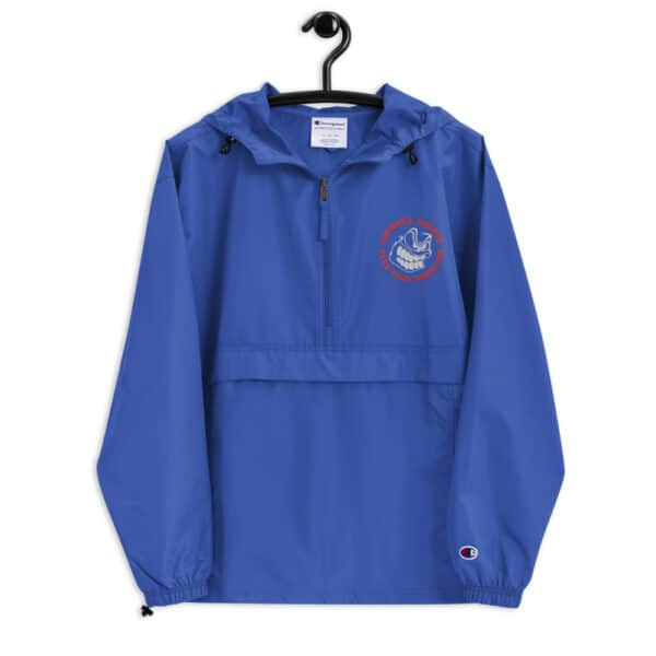 embroidered champion packable jacket royal blue front 614b5c189a3fd