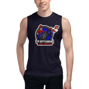 unisex muscle shirt navy front 613a777294f55